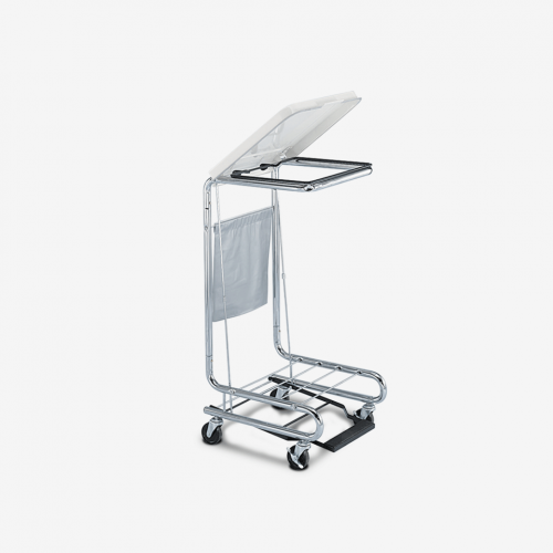 HP-2100 Square Tilt-Top Chrome Step-on Hamper
